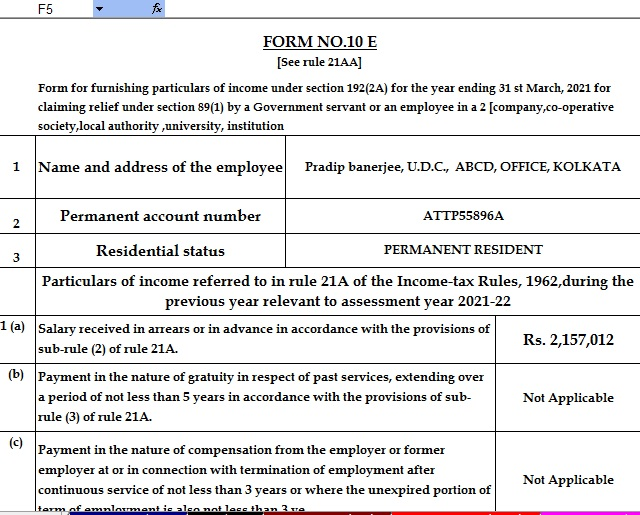 Income Tax Arrears Relief Calculator for F.Y.2020-21
